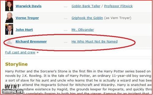 Harry Potter IMDb Entry WIN