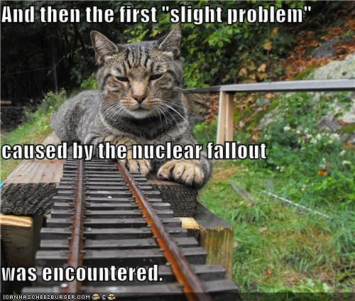 caption,captioned,cat,cause,encountered,fallout,first,nuclear,problem,slight,tracks,train,train tracks