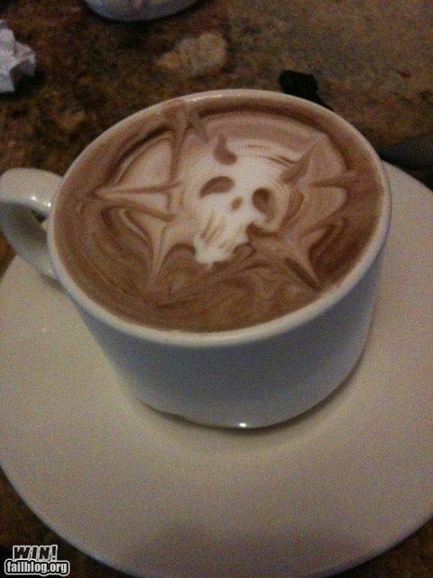 coffee,design,latte,metal,pentagram,skull