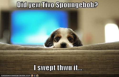 Did yew Tivo Spoungebob?  I swept thwu it...