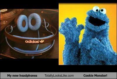 Cookie Monster,headphones,muppets,Sesame Street