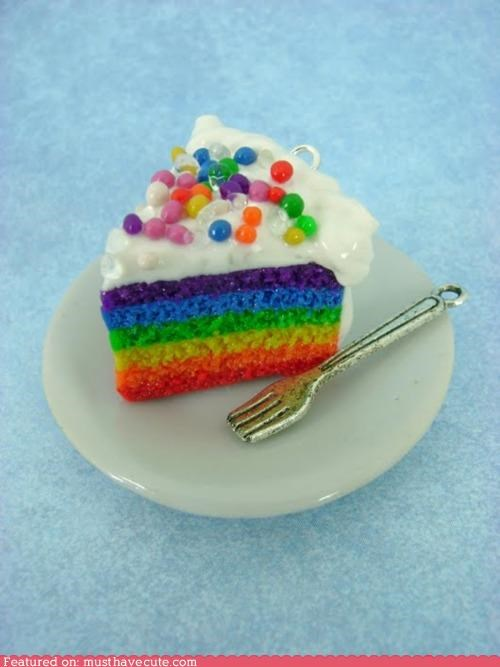 cake,charm,fork,frosting,miniature,necklace,pendant,plate,rainbow,sprinkles