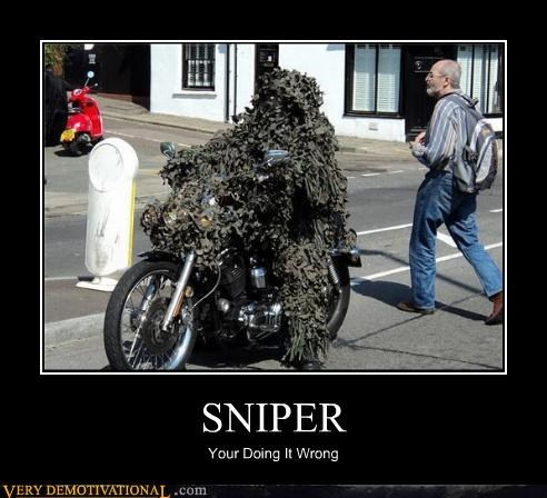 ghillie suit,hilarious,motorcycle,sniper