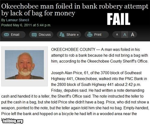 Probably Bad News: Robbing Supplies FAIL