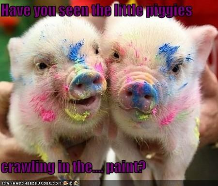 Have you seen the little piggies  crawling in the.... paint?