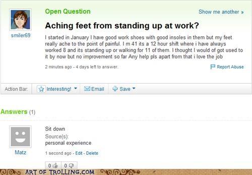 feet,hurt,simple,Yahoo Answer Fails