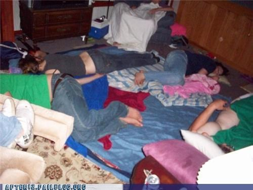 group,passed out,slumber party