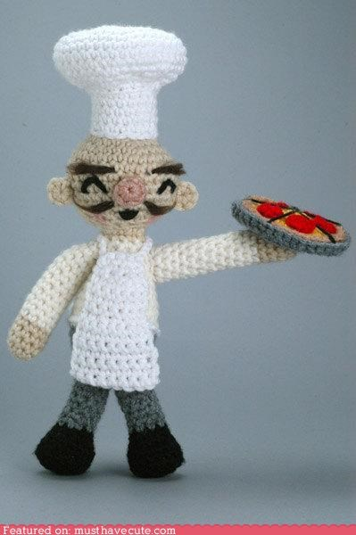 Amigurumi,chef,man,mustache,pizza,smile