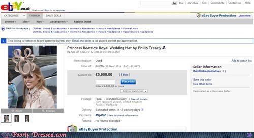 ebay,hat,Princess Beatrice,sales