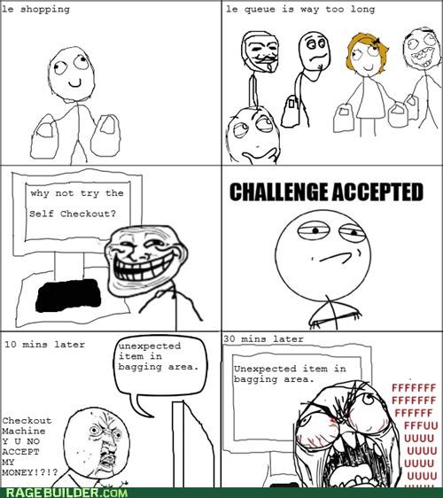 failing,Rage Comics,self checkout,shopping,unexpected