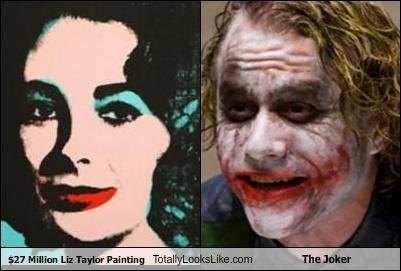 Andy Warhol,batman,elizabeth taylor,heath ledger,painting,the joker