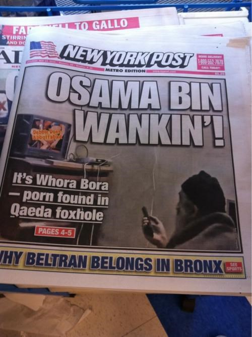 Birdcage Lining,Fish Wrapper,New York Post,Osama Bin Laden