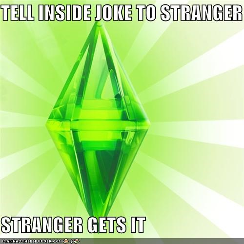 inside joke,jokes,lol,stranger,The Sims