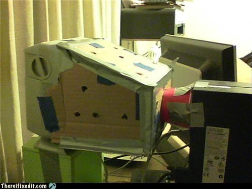 cardboard,computer repair,cooling,duct tape,fan