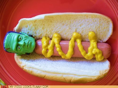 bun,frankenfurter,frankenstein,frankfurter,head,hot dog,mustard