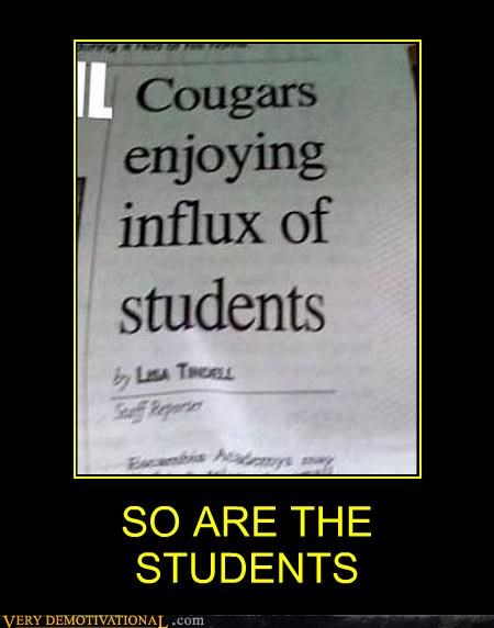 cougars,hilarious,influx,students