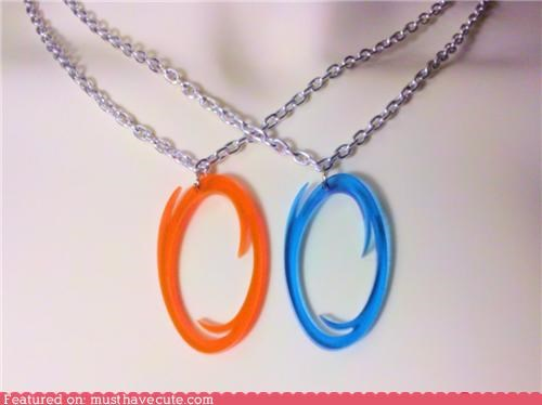 accessories,blue,friendship,Jewelry,necklaces,orange,pair,Portal,video game