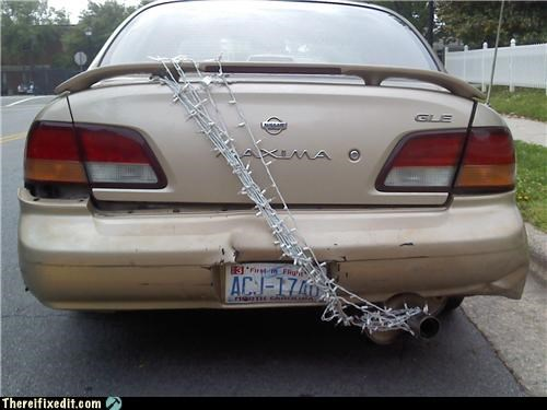 bad puns,cars,christmas lights,dual use,exhaust pipe,holding it up