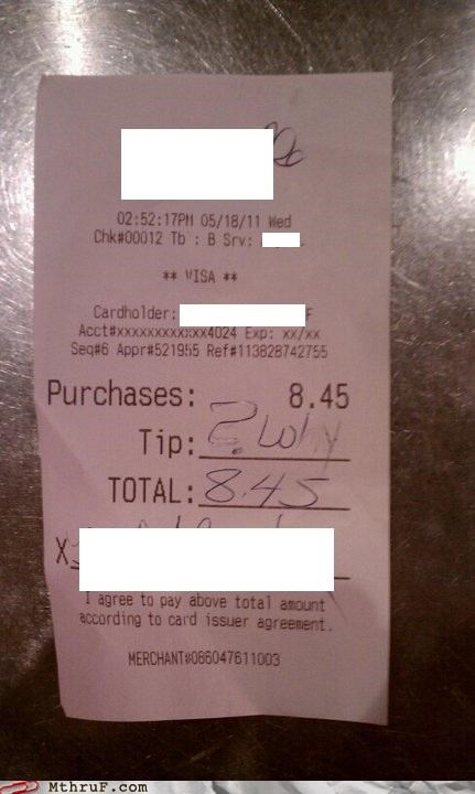 receipt,servers,tips