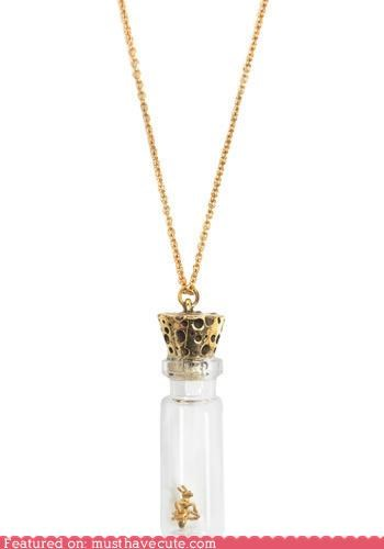ant,bug,cork,gold,insect,Jewelry,necklace,vial