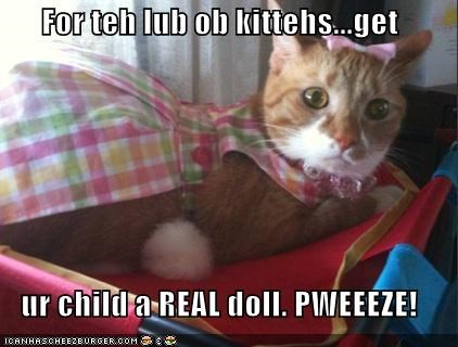 For teh lub ob kittehs...get  ur child a REAL doll. PWEEEZE!