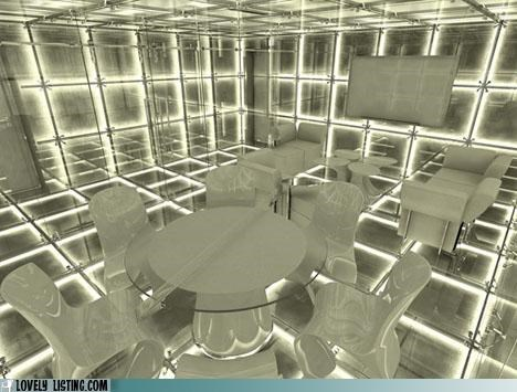 dining room,disorienting,lights,mirrors,table chairs