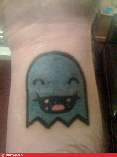 ghosts,tattoos,pac man,funny