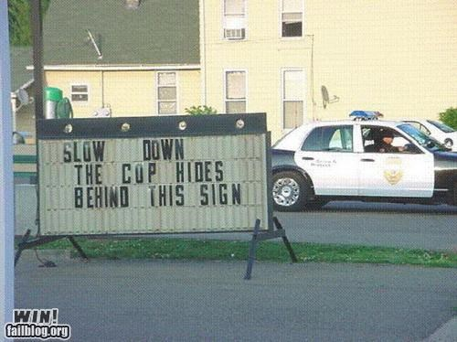 cops,marquee,sign,speed trap