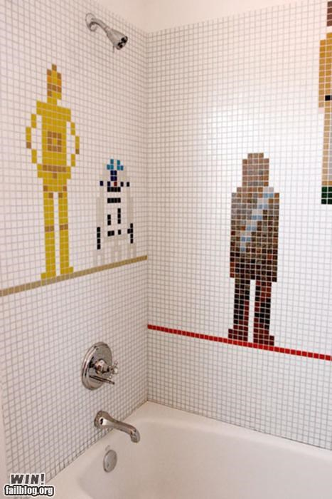 bathroom,design,nerdgasm,star wars,tiles
