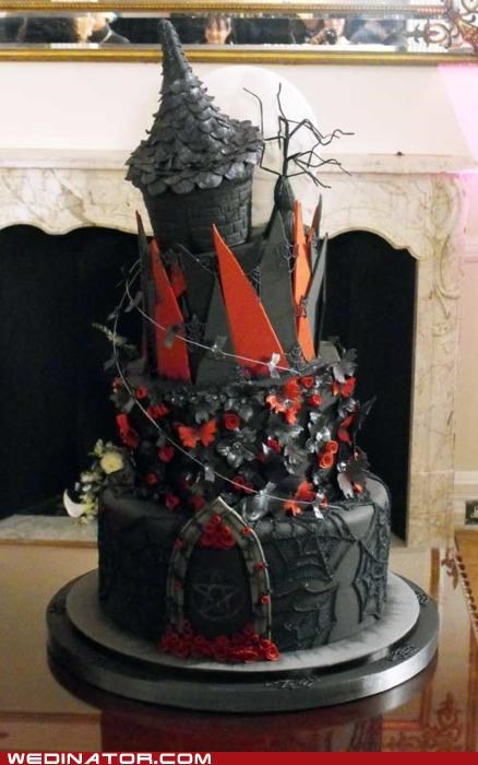 funny wedding photos,magic,medieval,wedding cake