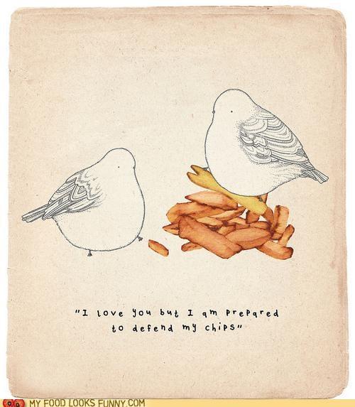 birds,fries,love,pigeons,step off