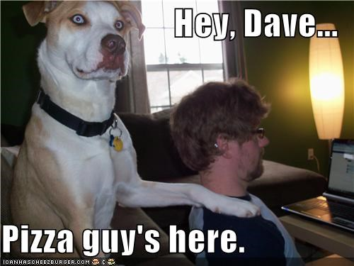 Hey, Dave...  Pizza guy's here.
