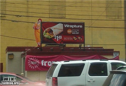 ads,billboards,clever,food,the rapture,wraps