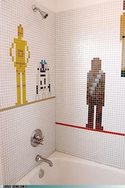 bathroom,characters,shower,star wars,tiles