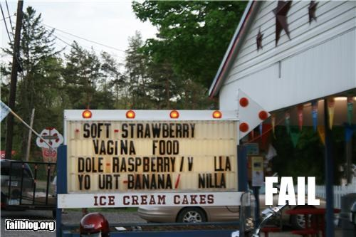 Ice Cream Sign FAIL