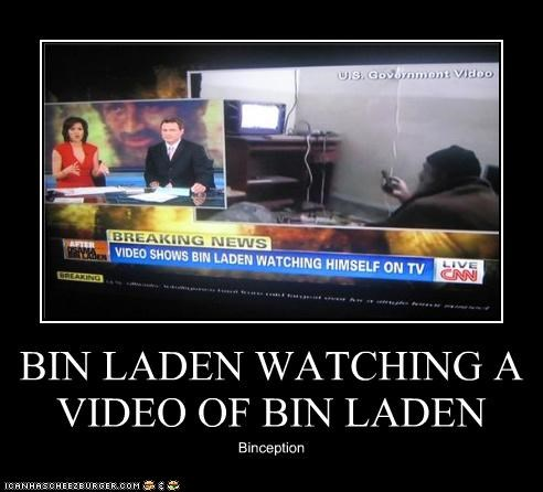 BIN LADEN WATCHING A VIDEO OF BIN LADEN