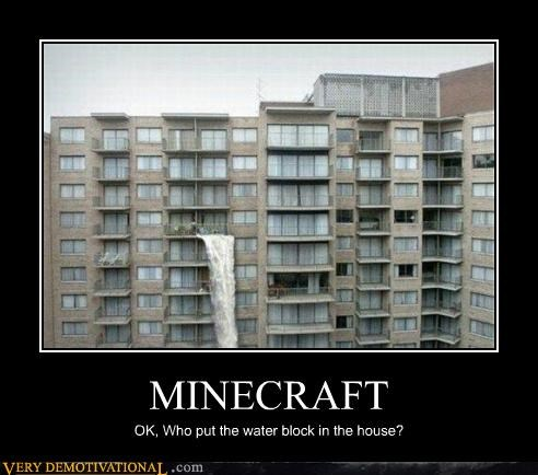 hilarious,minecraft,water block house,wtf