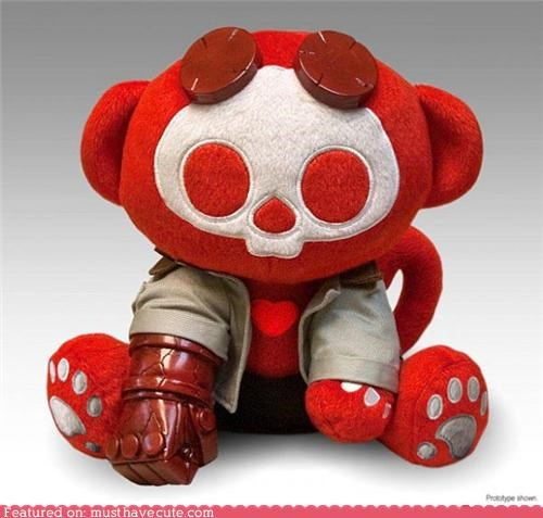 character,comic book,hellboy,keleton,Movie,Plush,red,trench coat