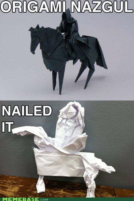derp,Lord of the Rings,Memes,Nazgul,origami,paper