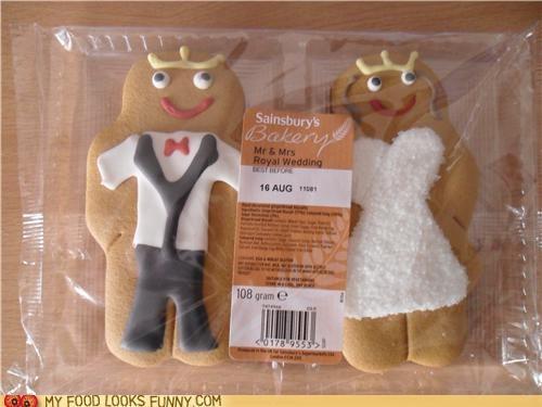 bride and groom,cookies,dress,gingerbread men,icing,suit,wedding