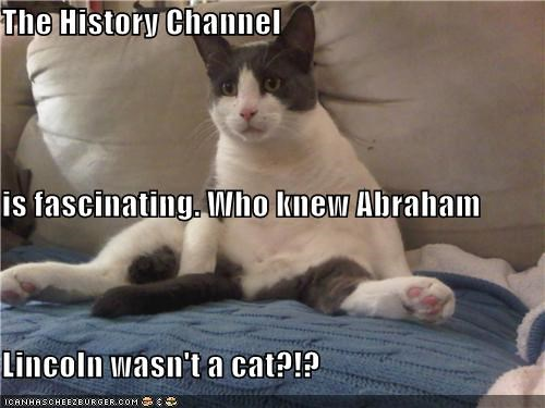 The History Channel is fascinating. Who knew Abraham Lincoln wasn't a cat?!?