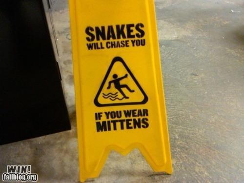 hacked irl,mittens,signs,snakes,warning,wet floor