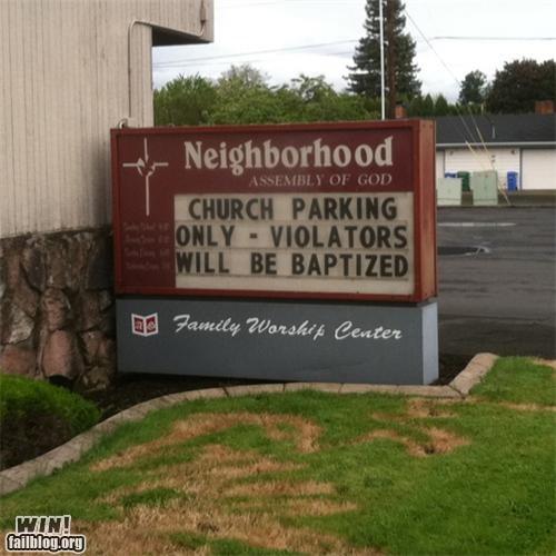 baptism,church,parking,sign,warning