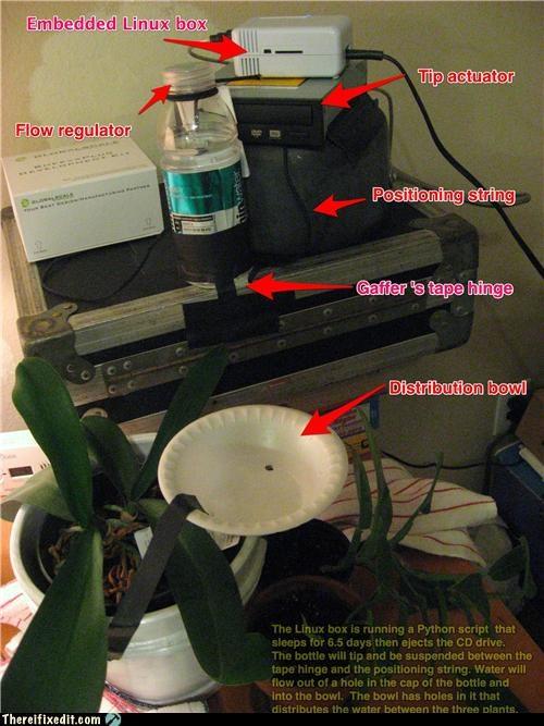 computers,dual use,plants,rube goldberg,watering
