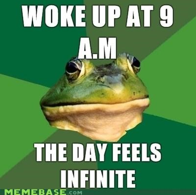 day,finite,foul bachelor frog,infinity,morning,time