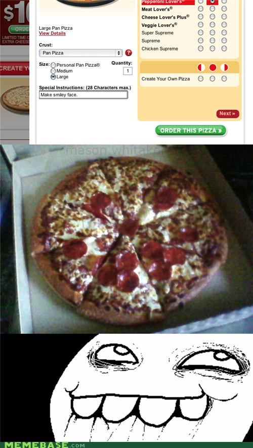 delivery,pepperoni face,pizza,rage,the internets