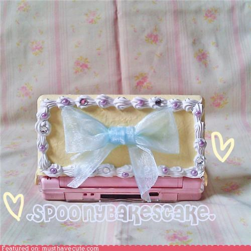 cake,case,ds,frilly,game,handheld,nintendo ds,video game