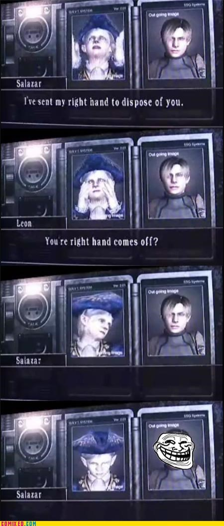 defeated,resident evil,troll,video games,win