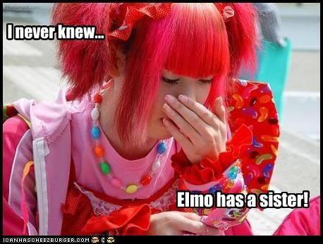 elmo,hair dye,Japan,red,weird kid,wtf