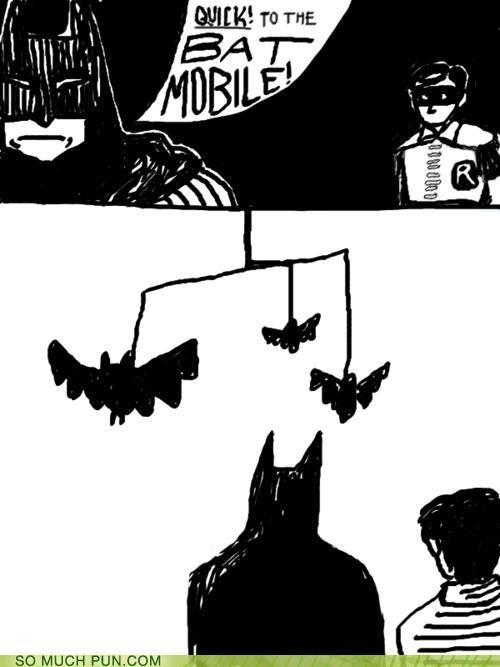 bat,batman,batmobile,comic,comic book,double meaning,Hall of Fame,literalism,mobile,robin